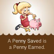 Penny saved is a penny earned Stock Illustration