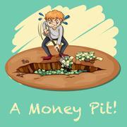 Old saying money pit - stock illustration