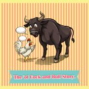 Cock and bull talking - stock illustration