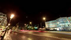 Greek Parliament building at night motion control pan timelapse 25p Stock Footage