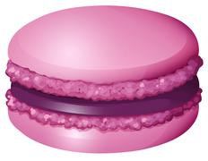 Purple color macaron alone - stock illustration