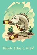 Idiom drink like a fish - stock illustration