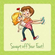 Idiom swept off your feet - stock illustration