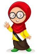 Girl in muslim attire - stock illustration