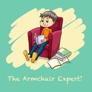 Man sitting reading on armchair - stock illustration
