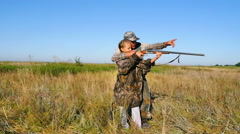 Hunter with a girl hunting Stock Footage