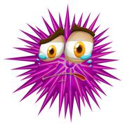 Purple thorn ball with crying face Stock Illustration