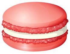 Red color macaron alone - stock illustration