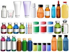 Medicine in bottles and tubes Stock Illustration