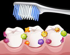 Bacteria between teeth when brushing Stock Illustration