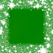 Frame from white snowflakes on a green background. Stock Illustration