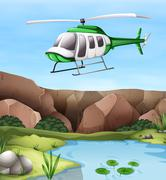 Helicopter flying over the cliff - stock illustration