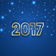 2017 New Year greeting card with stars and spot lights on blue  background - stock illustration