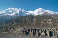 Snowy Tibetan mountains Stock Photos