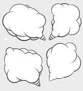 Set of four talking bubbles with white fill. Stock Illustration