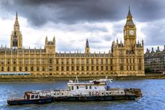 Big Ben and Houses of Parliament with Thames Stock Photos