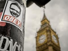 Obey and Big Ben Tourist Attraction - stock photo