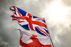 Union Jack and Saint George Flag Stock Photos