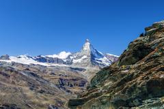 Overview of the Matterhorn,. Zermatt, Canton of Valais, Pennine Alps, Swiss Stock Photos
