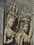 Detail of carvings, Angkor Wat Archaeological Park, UNESCO World Heritage Site, - stock photo