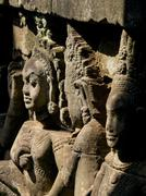Detail of carving, Angkor Wat Archaeological Park, UNESCO World Heritage Site, - stock photo