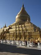 The Shwe Zigon, a Buddhist temple, Nyaung-U, near Bagan (Pagan), Myanmar - stock photo