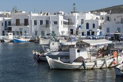 Naoussa harbour, Paros, Cyclades, Greek Islands, Greece, Europe - stock photo
