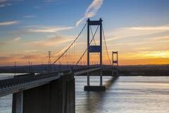 Old (First) Severn Bridge, Avon, England, United Kingdom, Europe - stock photo