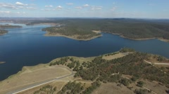 BP Dam Aerial Track Left Stock Footage
