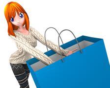 shopping redhead - stock illustration