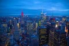 Lower Manhattan from Top of The Rock, New York, United States of America, North - stock photo