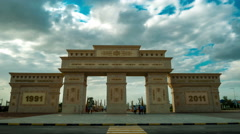 4K TimeLapse. The camera moves forward through the Arc de Triomphe Stock Footage