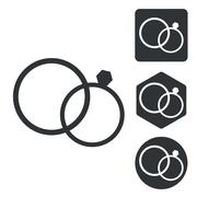 Stock Illustration of Wedding rings icon set, monochrome