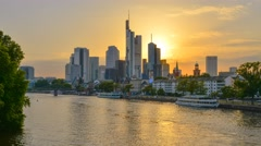 Germany, Hessen, Frankfurt Am Main, City Skyline across River Main - stock footage