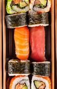 sushi pieces from aerial view - stock photo