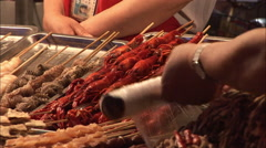 Crayfish in Chinese street food market Stock Footage