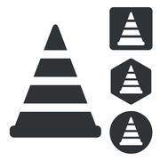 Traffic cone icon set, monochrome - stock illustration
