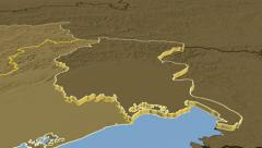 Friuli-Venezia Giulia - Italy autonomous region extruded. Bumps - stock footage