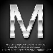 silver font - stock illustration