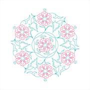 Floral pattern line tale - stock illustration