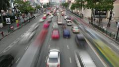 Crowded roadway from above, smooth timelapse shot of changing traffic Stock Footage