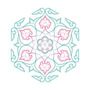 Floral pattern line art tale - stock illustration