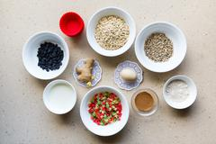 Ingredients for dietary cakes - stock photo