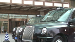 London cabs, Chinese hotel, courtesy cars Stock Footage