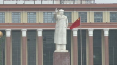 Mao Zedong statue, Chinese flag, China Stock Footage
