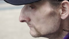 Homeless close-up portrait Stock Footage