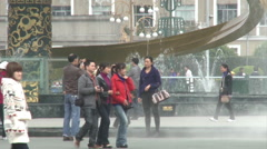 Chinese people, fountains, Chengdu, China Stock Footage