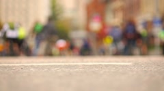 Mass bicyclists ride on city streets, selective focus. Stock Footage