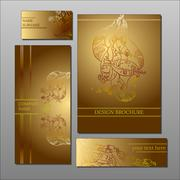 Abstract floral sepia design cards and brochure collection Stock Illustration