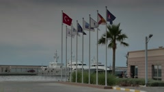 Flags in the marina 4k Stock Footage